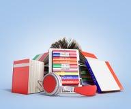 EBook-Audio, das Sprachen lernen und Bücher 3d übertragen auf blauem Absolventen Stockfoto