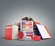 EBook-Audio, das Sprachen lernen und Bücher 3d übertragen auf grauem Absolventen Stockfotos
