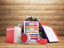 EBook-Audio, das Sprachen lernen und Bücher 3d übertragen auf Holz Lizenzfreie Stockbilder