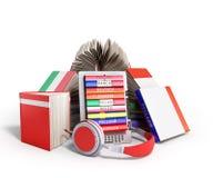 EBook-Audio, das Sprachen lernen und Bücher 3d übertragen auf Weiß Stockfoto