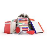 EBook-Audio, das Sprachen lernen und Bücher 3d übertragen auf Weiß Lizenzfreie Stockbilder