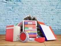 eBook Audio, das Sprachen lernen und Bücher 3d übertragen Bruch backgr Stockfotos