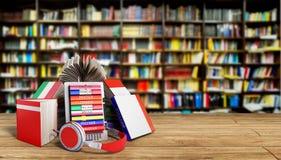EBook-Audio, das Sprachen lernen und Bücher in der Bibliothek 3d übertragen S Lizenzfreies Stockfoto