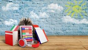 EBook-Audio, das Sprachen und Bücher auf Bruch bacground 3d lernt Stockbilder