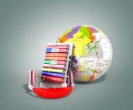 EBook avec l'audio de globe apprenant les langues 3d rendent sur le gris illustration libre de droits