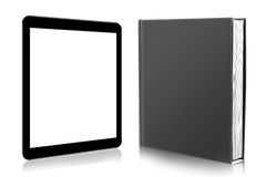 EBook avläsare. bok och digital minnestavla Royaltyfri Fotografi