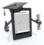 Ebook avläsare med armar, avläggande av examenlocket och diplomet Arkivfoton