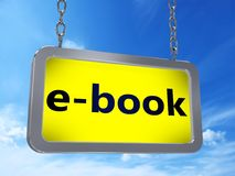 EBook on billboard. EBook on yellow light box billboard on blue sky background royalty free illustration