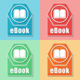 Ebook and book sign, four colors web icons Stock Photography