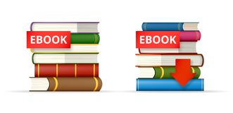EBOOK books stacks  icons. EBOOK icons, stack of books and download button, vector illustration Royalty Free Stock Image
