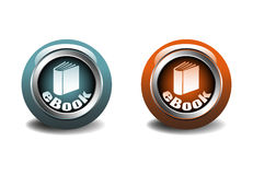 Ebook buttons. Two ebook web buttons on white background stock illustration