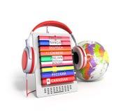 EBook com o áudio do globo que aprende as línguas 3d rende ilustração do vetor