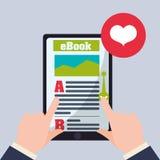 EBook  design. reading icon. White background , vector illustration , vector Stock Image