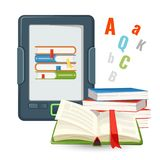 Ebook device contains millions of paper books published in digital Royalty Free Stock Photography