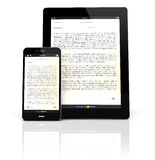 Ebook devices. Render of a tablet pc and a smart phone with an ebook app on the screen royalty free illustration
