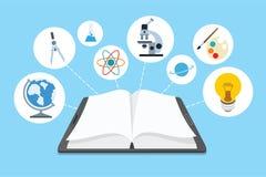 Ebook e ícones com fundo azul Imagem de Stock