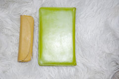 Ebook and glass case on fur Stock Photo