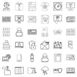 Ebook icons set, outline style Royalty Free Stock Photos