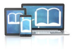 Ebook icons on smartphone, digital tablet and Stock Image