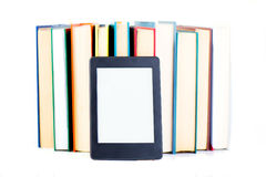 Ebook leaning paper books. New technology concept stock photo