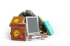EBook-Leser Books und Tablette auf hölzernem Illustration 3d Erfolg k Stockbild