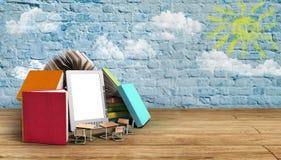 EBook-Leser Books und Tablette 3d übertragen Bild auf hölzerner Flor Succ Lizenzfreie Stockfotografie