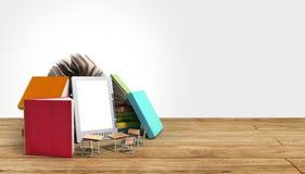 EBook-Leser Books und Tablette 3d übertragen hölzernes Flor kn Erfolg OM Lizenzfreie Stockfotografie