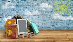 EBook-Leser Books und Tablettenbruchhintergrund 3d übertragen Succes Lizenzfreies Stockbild
