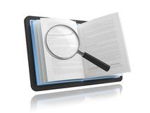 EBook met het vergrootglas vector illustratie