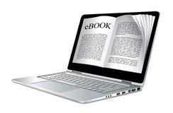Ebook - ordenador portátil como libro electrónico ilustración del vector