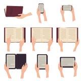 EBook, paperbook pastylka i telefon z tekstem, Obraz Stock