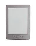 Ebook reader. Modern ebook reader.  EInk display. Gray case. Isolated on white background Royalty Free Stock Images
