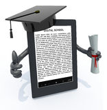 Ebook reader with arms, Graduation Cap and Diploma Stock Photos