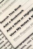 Ebook Seite mit Optionen stockfotografie