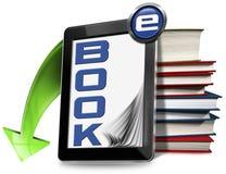 EBook-Symbol mit Tablet und Büchern Stockfoto