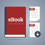 EBook template with pdf label. EBook template with pdf label and pdf page icons with download vector illustration