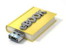 EBook with USB plug. 3D render Royalty Free Stock Image