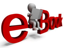 Ebook-Wort, das digitale Bibliothek zeigt Lizenzfreies Stockbild