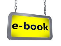EBook on billboard. EBook on yellow light box billboard on white background Stock Images