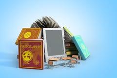 EBooklezer Books en tablet op gradiënt 3d illustratie Succe Royalty-vrije Stock Afbeelding