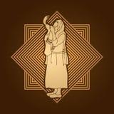 Ebreo che soffia lo shofar illustrazione vettoriale