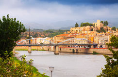 Ebro river with bridge and Suda Castle in Tortosa Stock Photo