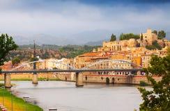 Ebro River e Suda Castle em Tortosa Fotografia de Stock