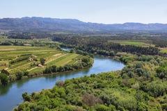 Ebro river Miravet castle in Catalonia royalty free stock photo