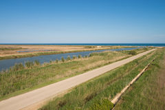 Ebro river mouth. One of the many Ebro river arms flowing into the Mediterranean at its delta Royalty Free Stock Photography
