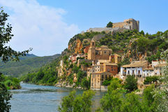 The Ebro River and the old town of Miravet, Spain Stock Photography
