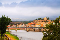 Ebro river and Suda Castle in Tortosa Stock Image