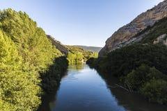 Ebro river through a valley in Spain Stock Photos
