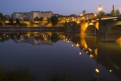 Ebro rzeka i skała most w mieście Logroño Fotografia Stock