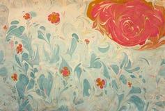 Ebru με το λουλούδι και τον ήλιο Στοκ Εικόνα